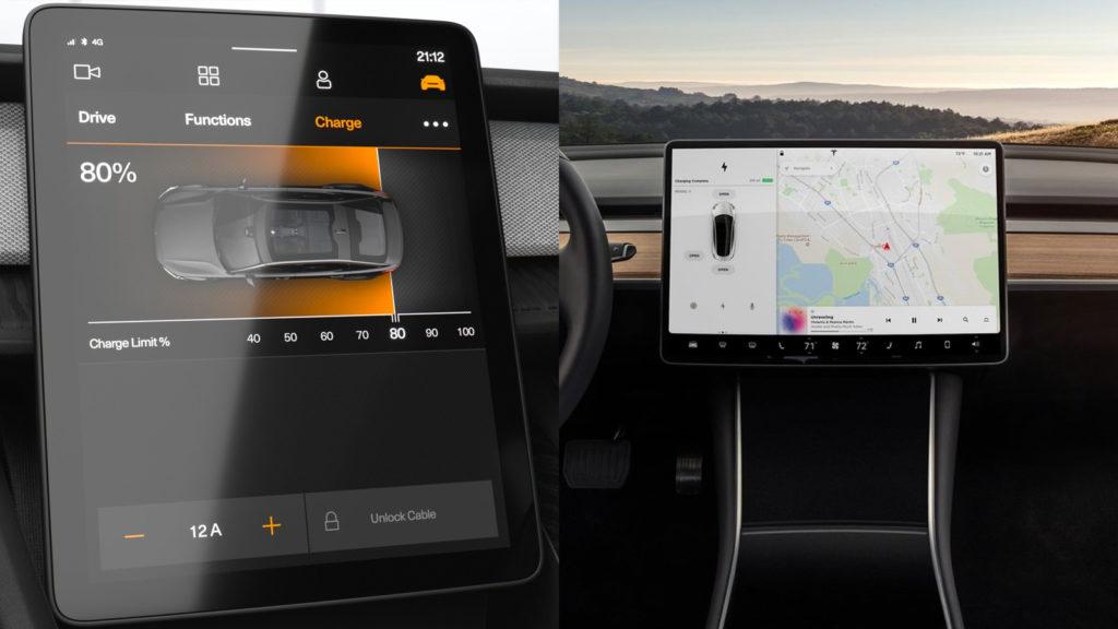 Infotainment Polestar 2 och Tesla Model 3
