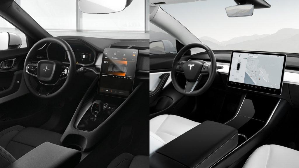 Tesla Model 3 - Polestar 2 inredning